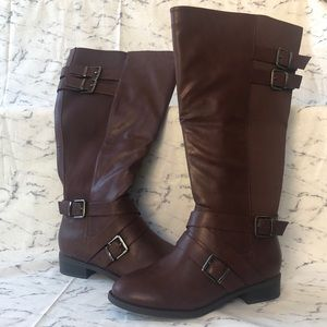 Wine Faux Leather Buckle Boot